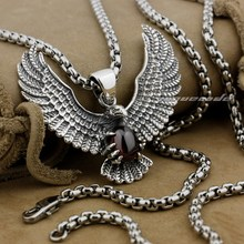 925 Sterling Silver Eagle Holding Red CZ Stone Fashion Pendant 9L003(Necklace 24inch)
