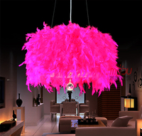 Princess Coloful Feather Crystal Droplight Beautiful Romantic Marriage Pendant Lamp For Bedroom Clothing Store Cafe Bar Dining