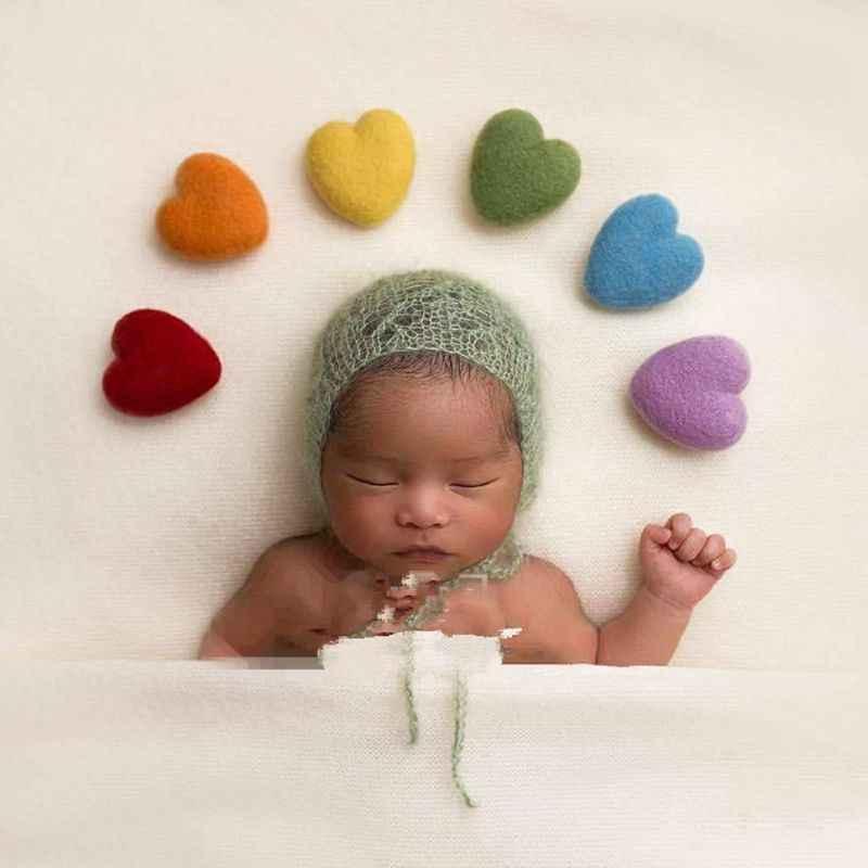 3 uds. Accesorios de fotografía para recién nacidos con forma de corazón de fieltro hecho a mano para bebés pequeños accesorios para Sesión de fotos para niños y niñas