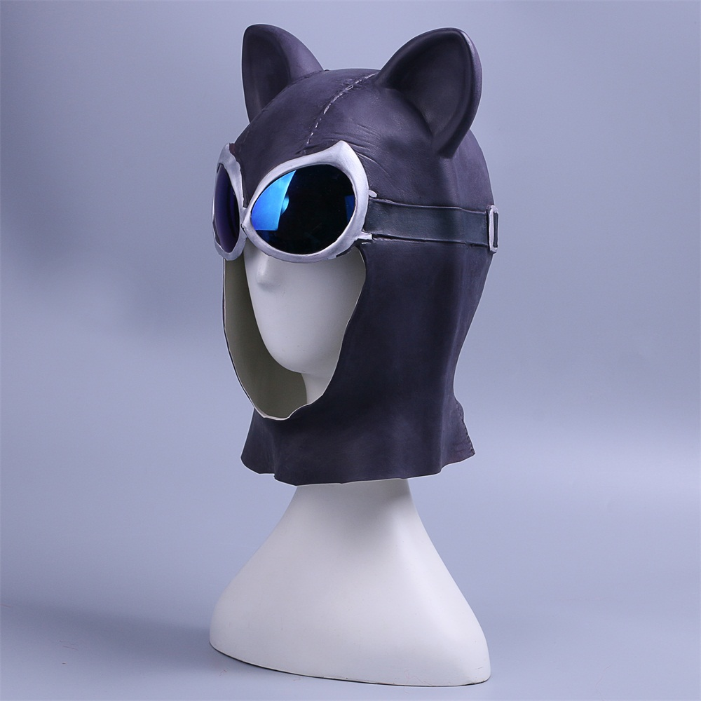 Cosplay Catwoman Mask Black Latex Cat Mask Cat Woman Batman Halloween Mask Prop (4)