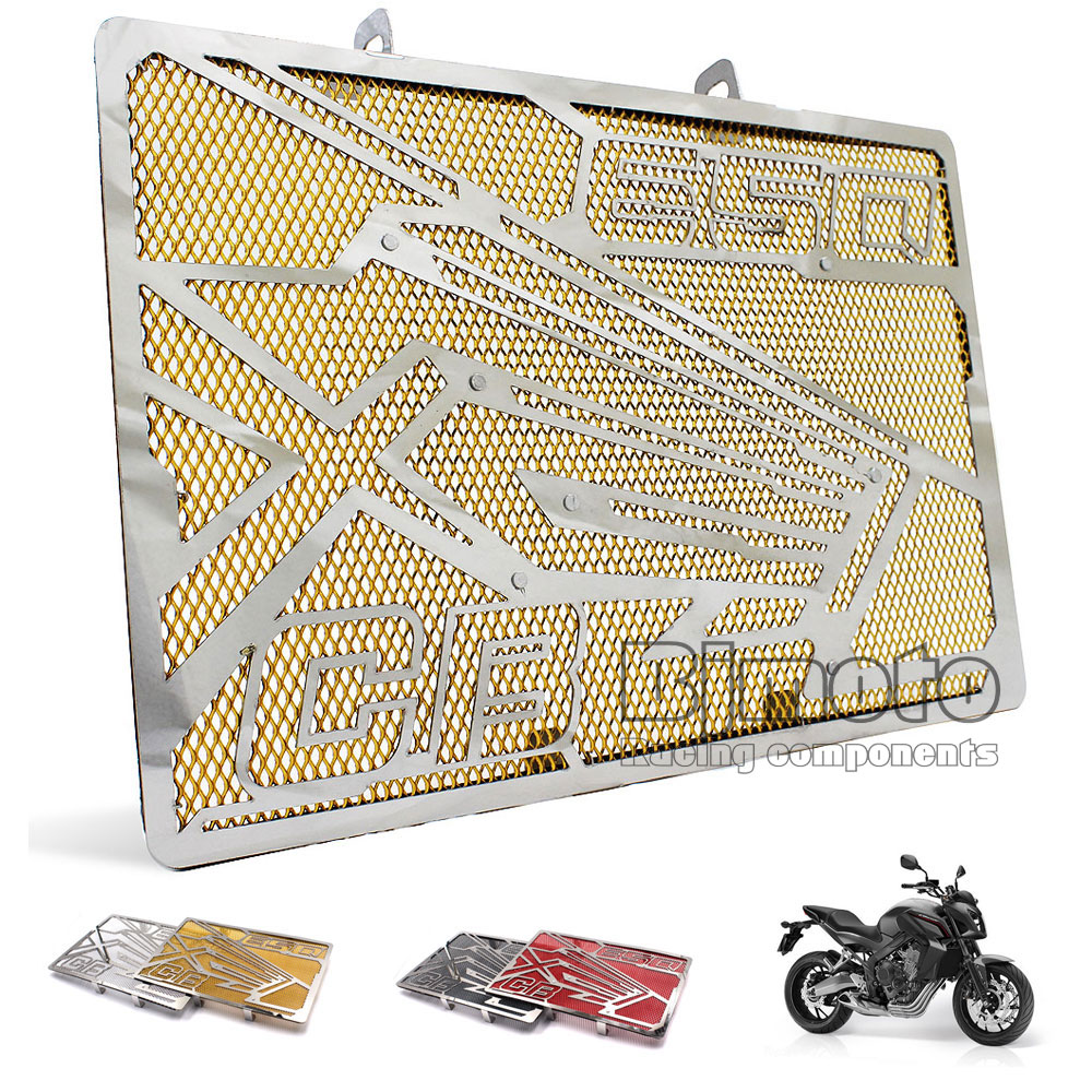 For Honda CB650F 2014-2017 CBR650F 2014 2015 2016 2017 Motorcycle Part Stainless Steel Radiator Grill Guard Cover Protector Gold motorcycle radiator protective cover grill guard grille protector for kawasaki z1000sx ninja 1000 2011 2012 2013 2014 2015 2016