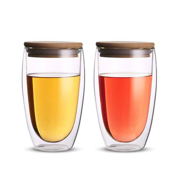 Heat Insulation Bodum Design Wine Cafe Juice Cup Free BPA Double Wall Glass For Bar Sealing Up Travel Coffee Mug With Bamboo LId 2