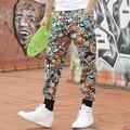2016 Pantalones Cargo de los hombres ocasionales más tamaño push-up de Dibujos Animados de Colores patrones de caracteres L-4XL Loose Harem de Baile Hip Hop pantalones
