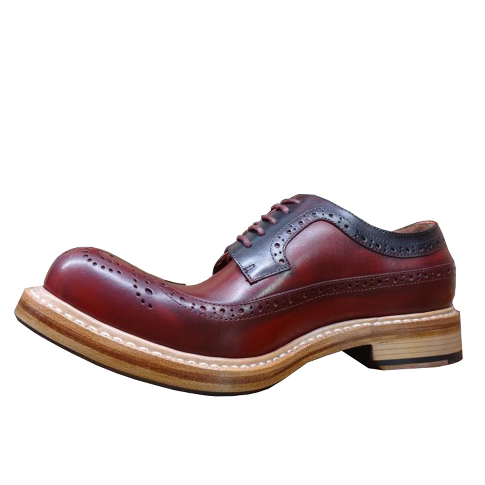 Ayakk.'ten Resmi Ayakkabılar'de Sipriks Lüks Tasarımcı Erkek Goodyear Welted Ayakkabı Yuvarlak Ayak Şarap Kırmızı Resmi Buzağı deri ayakkabı Patron Brogue Wingtip Elbise Erkekler'da  Grup 2