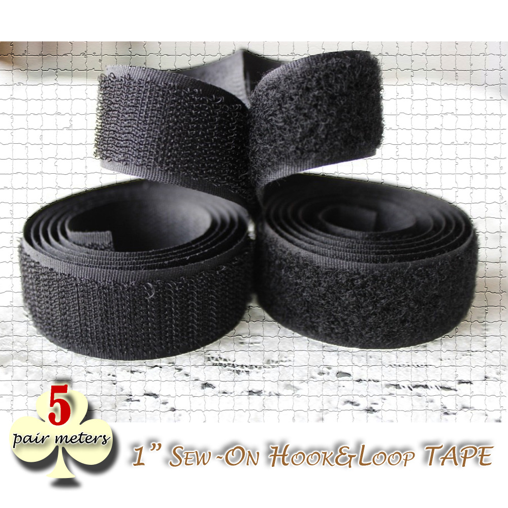 5yards pack 1 inch hook and loop fastener grip tape sew on velco color black craft sewing & repairs