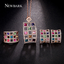 NEWBARK Hollow Multicolor Jewelry Sets Parure Bijoux Femme Earrings Ring Necklace Set Rose Gold Plated Square Austria Crystal