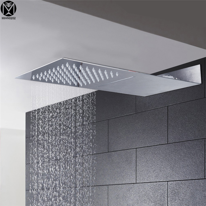 YANKSMART 2 Spout Perfect Luxury Hot Sale Square Rain Shower Head Wall Ceiling Mounted Top Over-head Shower Sprayer 12 led square rain shower head wall mounted shower arm w shower hose top over shower sprayer