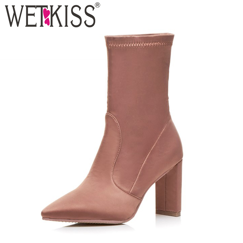 WETKISS Brand Designer 2018 Fashion Women Ankle Boots Slip Pointed toe High Heels Shoes Woman Boot Female Autumn Women Shoes designer luxury designer shoes women round toe high brand booties lace up platform ankle boots high quality espadrilles boot