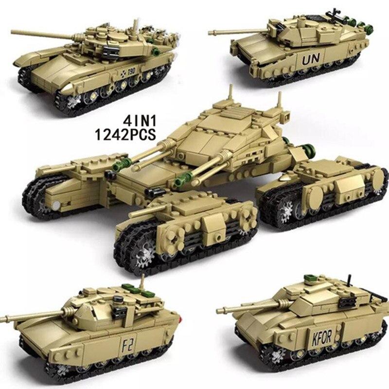 1242 pièces nouveau Legoing militaire bataille principale 4 en 1 T90 Leclerc M1A2 Challenger II réservoir bloc de construction brique ww2 armée Figures jouets