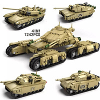 1242pcs New Legoing Military Main Battle 4 in 1 T90 Leclerc M1A2 Challenger II Tank Building Block Brick ww2 Army Figures Toys