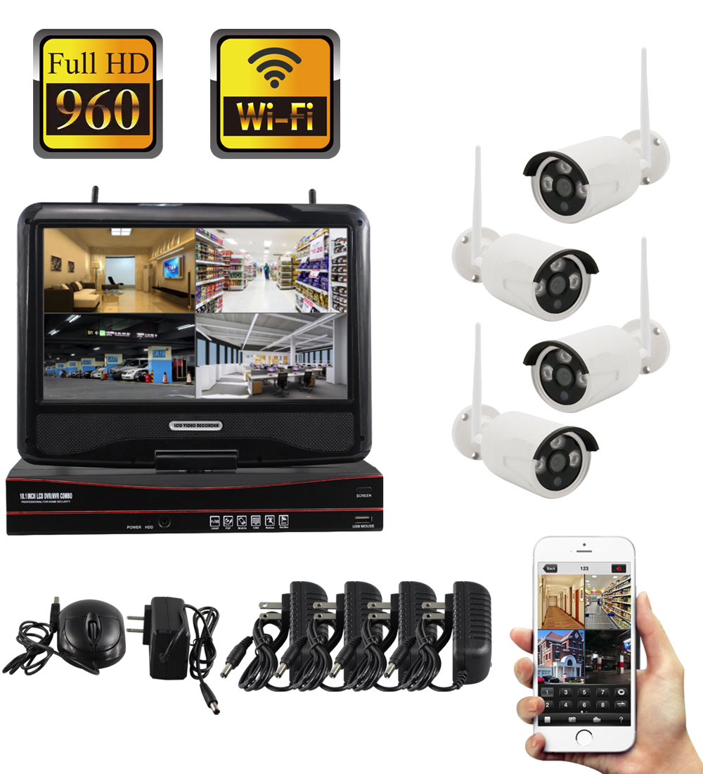 YobangSecurity 10inch Monitor 960P Wireless CCTV Camera Security System Kit Outdoor Waterproof Wifi Video Surveillance IP Camera