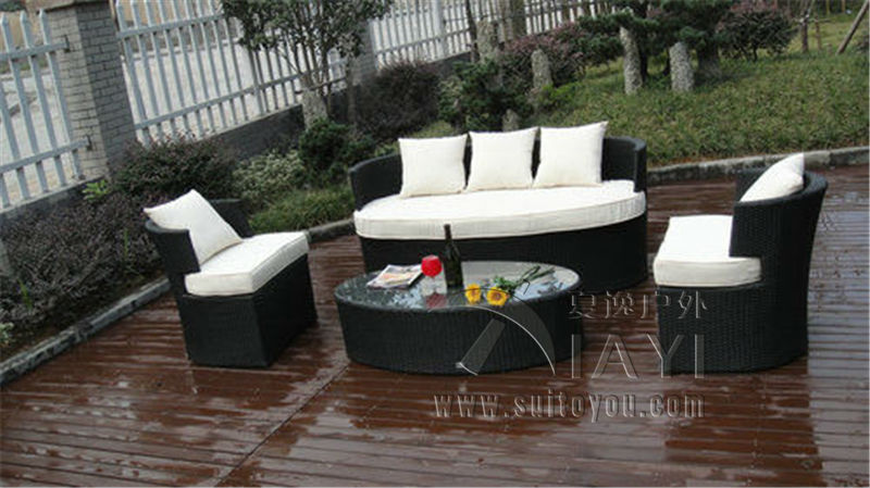 4-pcs All Weather UV Proof Outdoor Rattan Sofa For Cafe / Beach / Park 6 pcs half round rattan sofa set pastoralism home indoor outdoor rattan sofa for living room