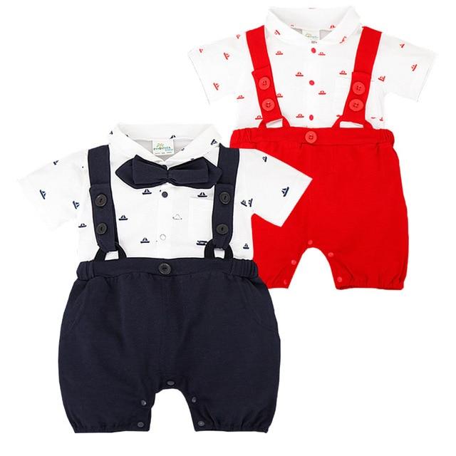 c57048eb111b Newborn Baby Girl Rompers Summer Toddler Boy Bib Romper Short Sleeve ...
