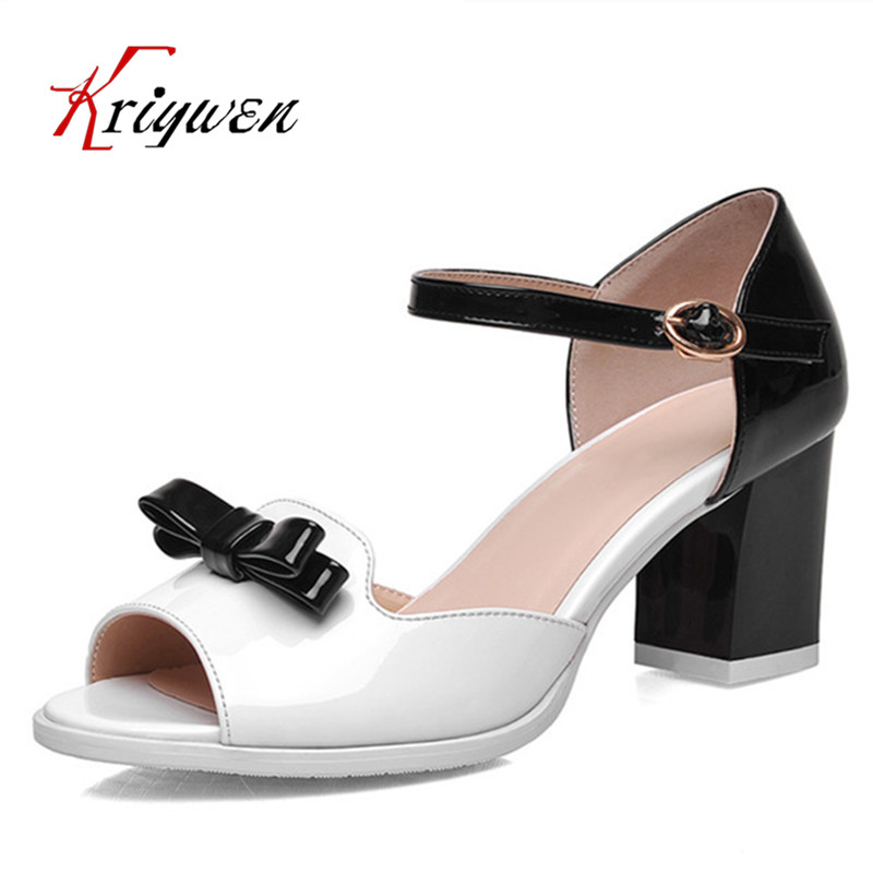 ФОТО Big size 32-44 mixed color bowtie peep toe ankle strap cover heels women shoes wedding dating evening sandals for female