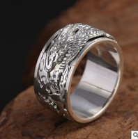 925 silver ring man dragon ring big rings 12mm