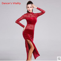 Competition 2017new Elegant Sexy Unequal Women Gold velvet Fringe Skirt Ladies Latin Tango Ballroom Salsa Dance Dress