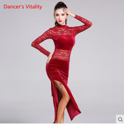 Concurrence 2017new Élégant Sexy Inégale Femmes Or velours Fringe Jupe Dames Latine Tango Ballroom Salsa Danse Robe