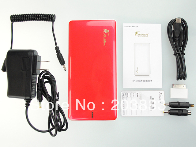 Free shipping + hot sell kiwibird 13200mAh mobile power bank