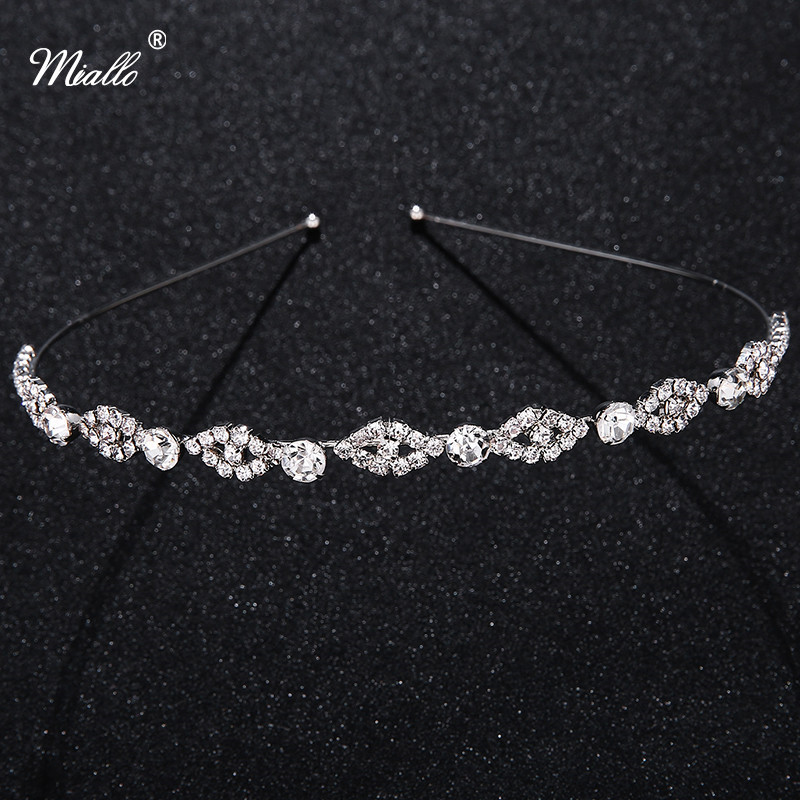 Bridal Wedding Crystal Hair Headband Rhinestone Crown Pageant Silver Plated Sterling Women Girls Party Tiara Hairwear Wholesale