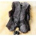 2016 moda invierno mujeres fur coat chaquetas sexy femme chaleco chaleco caliente suave delgada de gran tamaño de piel falsa chaleco sin mangas