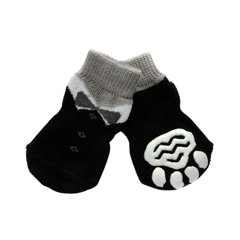 New 4 Pcs/ Set Dog Sock Cute Puppy Dogs Pet Knits Socks Comfortable Anti Slip Skid Bottom Color Randomly