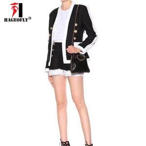 Image 2 - Yüksek kaliteli 2 iki parçalı Set kadınlar siyah beyaz kısa pantolon çift aslan düğme Blazer ceket şort kadın takım elbise sonbahar bez