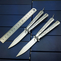 6 8 Inch Fly Dragon Butterfly In Knives Hunting Knife Silver Titanium Rainbow Mirror Stainless Steel