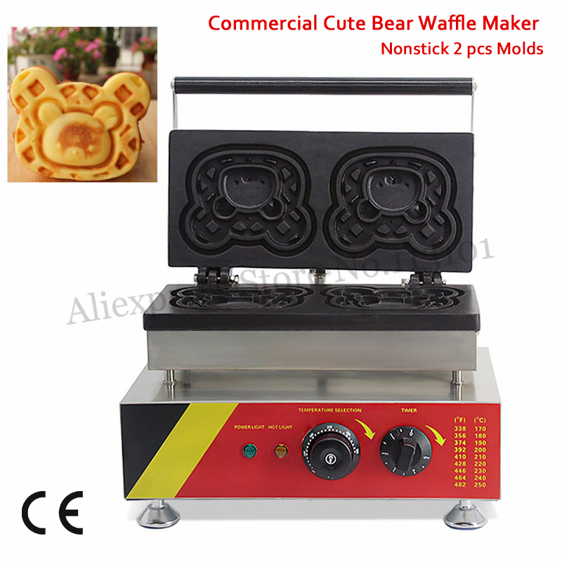 2 Molds Electric Bear Cake Maker 220V 110V Waffle Machine 1500W Snack Food Equipment fast food leisure fast food equipment stainless steel gas fryer 3l spanish churro maker machine
