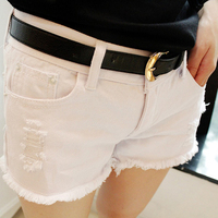 2017 Fashion Summer Style Cotton Denim Lady Shorts White Black Ripped Hole Women Worn Denim Shorts