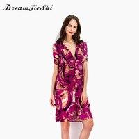 Dreamjieshi Floral Print Deep V Neck Short Chiffon Above Knee Mini Dress Women 2017 Vestidos Sexy
