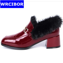 2017 font b Woman b font Pumps Patent leather Round toe High heeled shoes Lady fashion