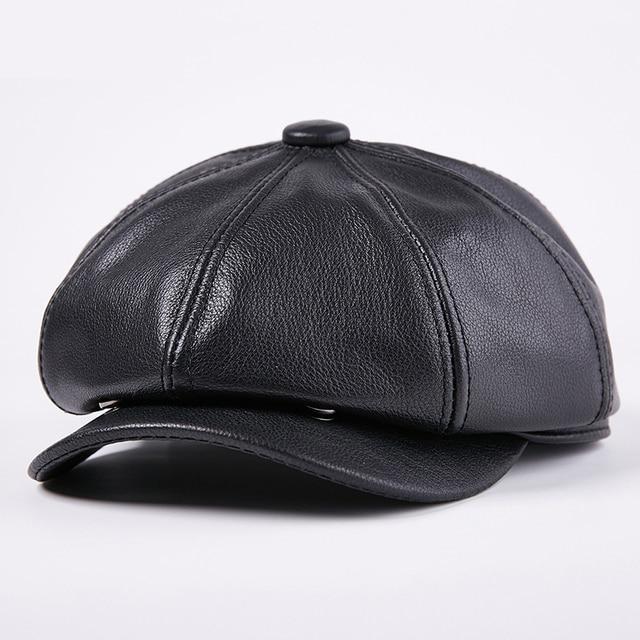 2e2ce7d4ad9 Winter Black Genuine Leather Newsboy Cap Men Women Lambskin cowhide Beret  Hat Casual Gatsby Hat Classic