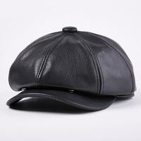 Winter Black Genuine Leather Newsboy Cap Men Women Lambskin cowhide Beret Hat Casual Gatsby Hat Classic Painter Octagonal Hats