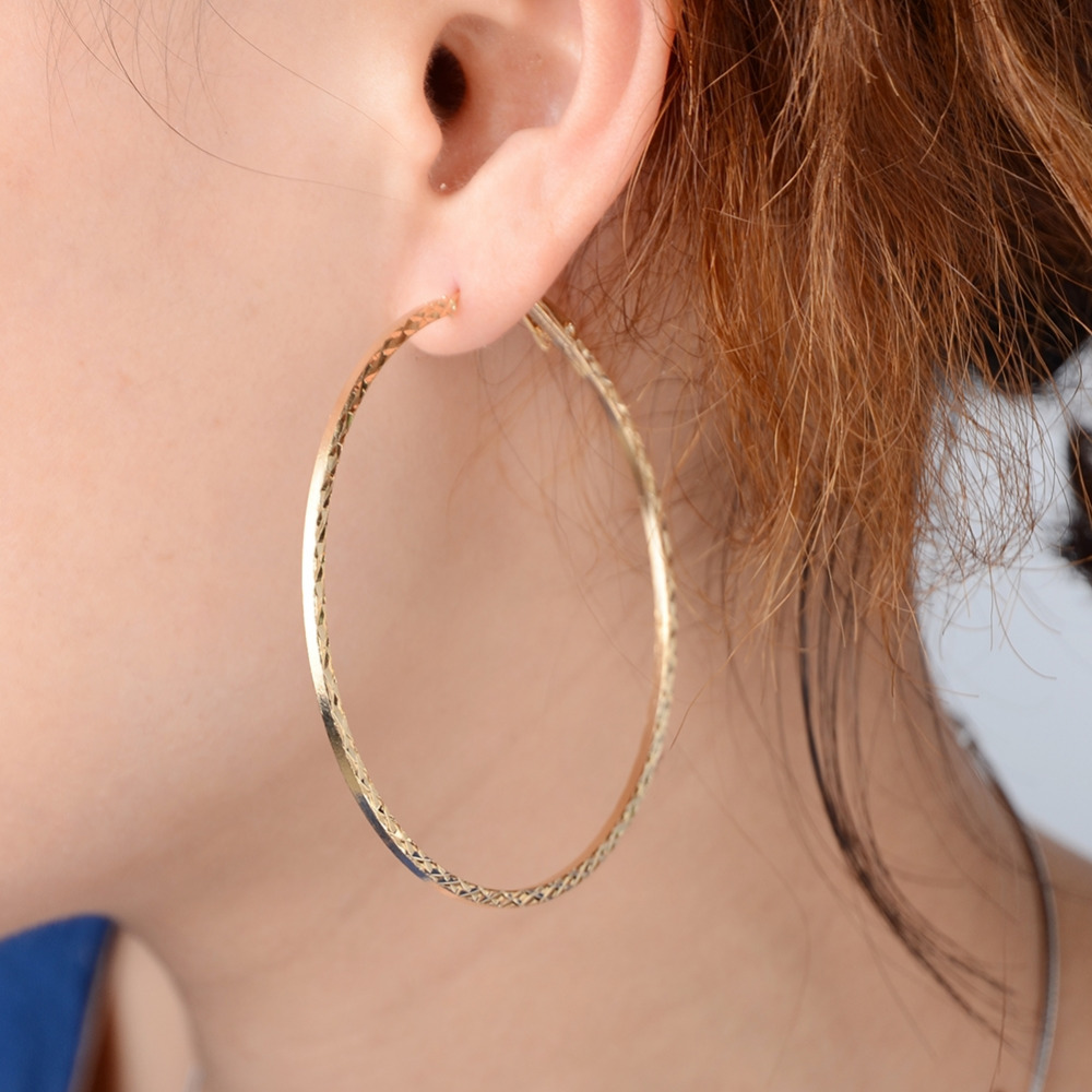 New Alloy Round Big Large Hoop Earring Gold Drop Earing Earrings For Women Statement Jewelry Gifts