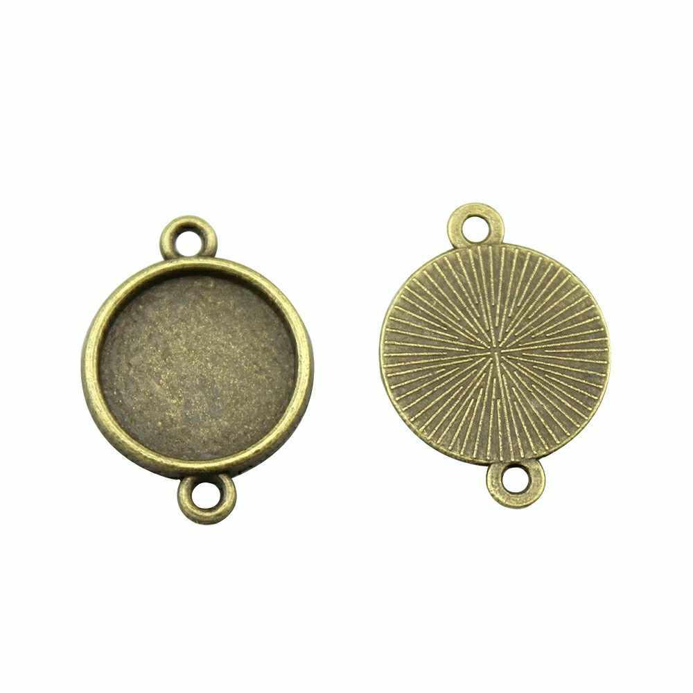 Ajuste de 20 piezas 8 ~ 25mm cabujón camafeo cabujón Base conector, ajuste de cabujón de aleación de Zinc Simple para hacer joyas DIY