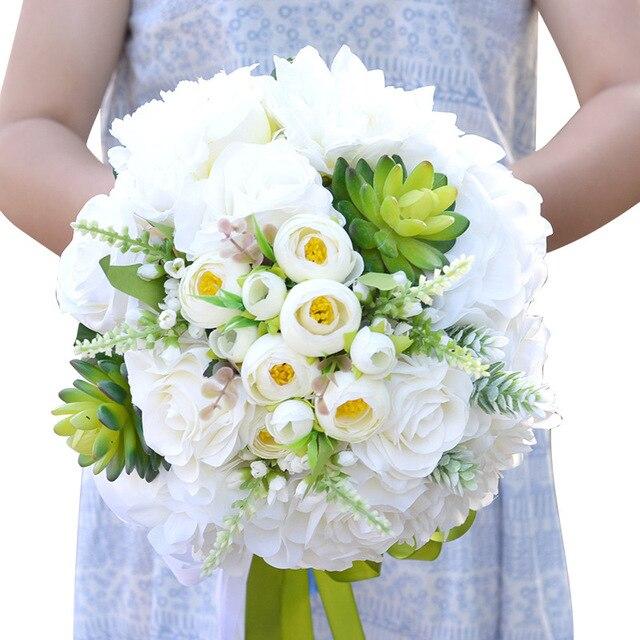 Старинные Белые Розы Искусственный Невесты Букеты Природный Пляж Свадебные Цветы Свадебные Букеты Рамос Де Novia 2016