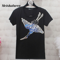 Donna Women Fashion T Shirt S 4XL Sequined Crane Bird Embroidery Short Sleeve Black White Casual