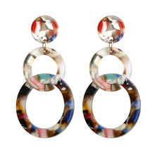 Fashionable alloy acrylic long earrings suitable for women European and American retro personality eardrop T17