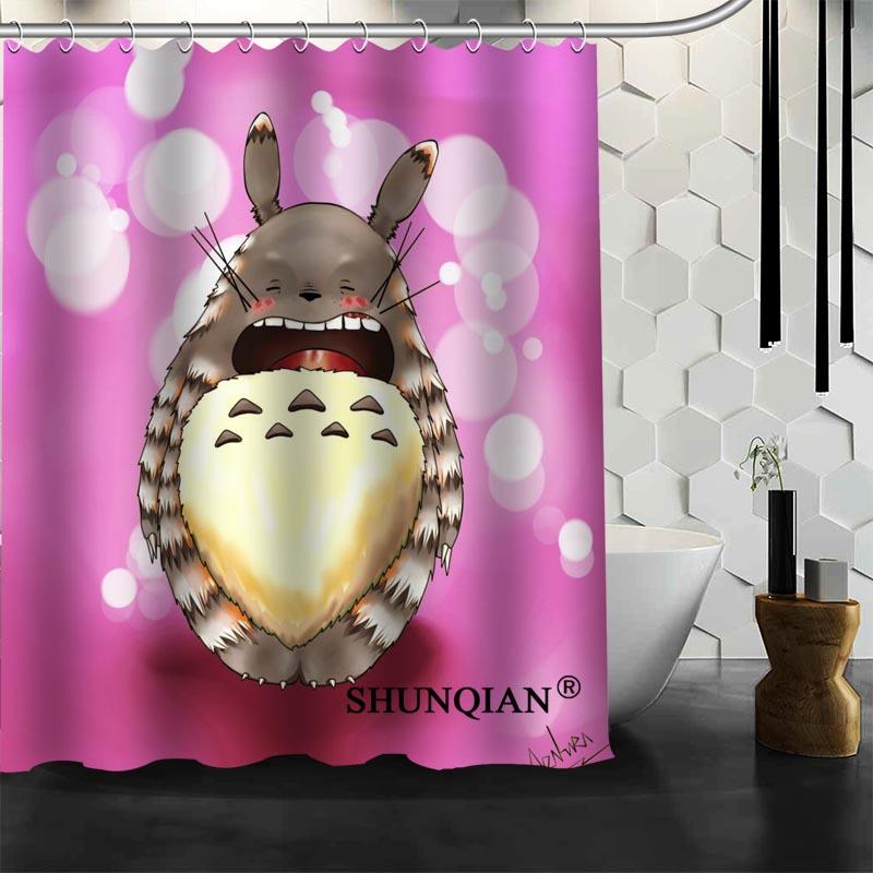 New Custom Totoro Cartoon Shower Curtains Polyester Bathroom Waterproof Bath Curtain Size 150X180cm165X200cm180X200cm
