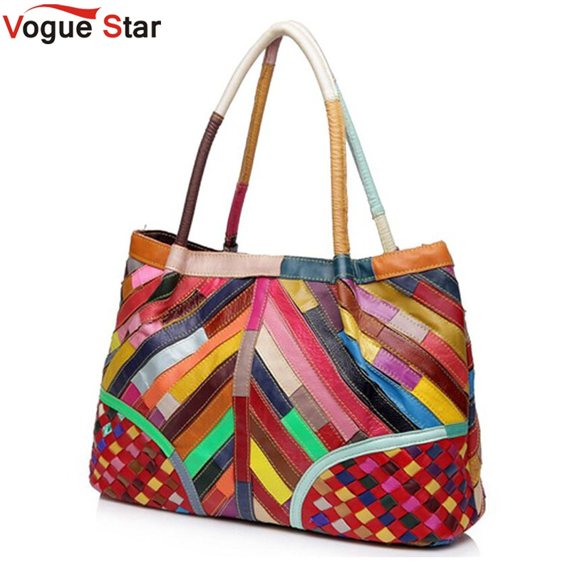Vogue Star Hot Sale Women Handbag Casual OL Lady Purse Patchwork Handbags Tote Genuine leather Shoulder Bag Colorful  YA40-208