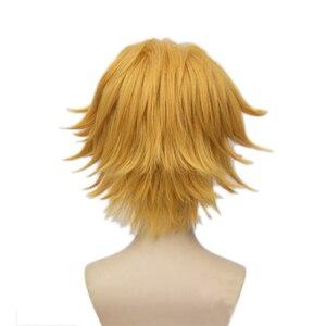 Image 3 - L email wig pour Cosplay Cat Noir, 30cm, perruque de Cosplay synthétique, courte et jaune, résistante à la chaleur