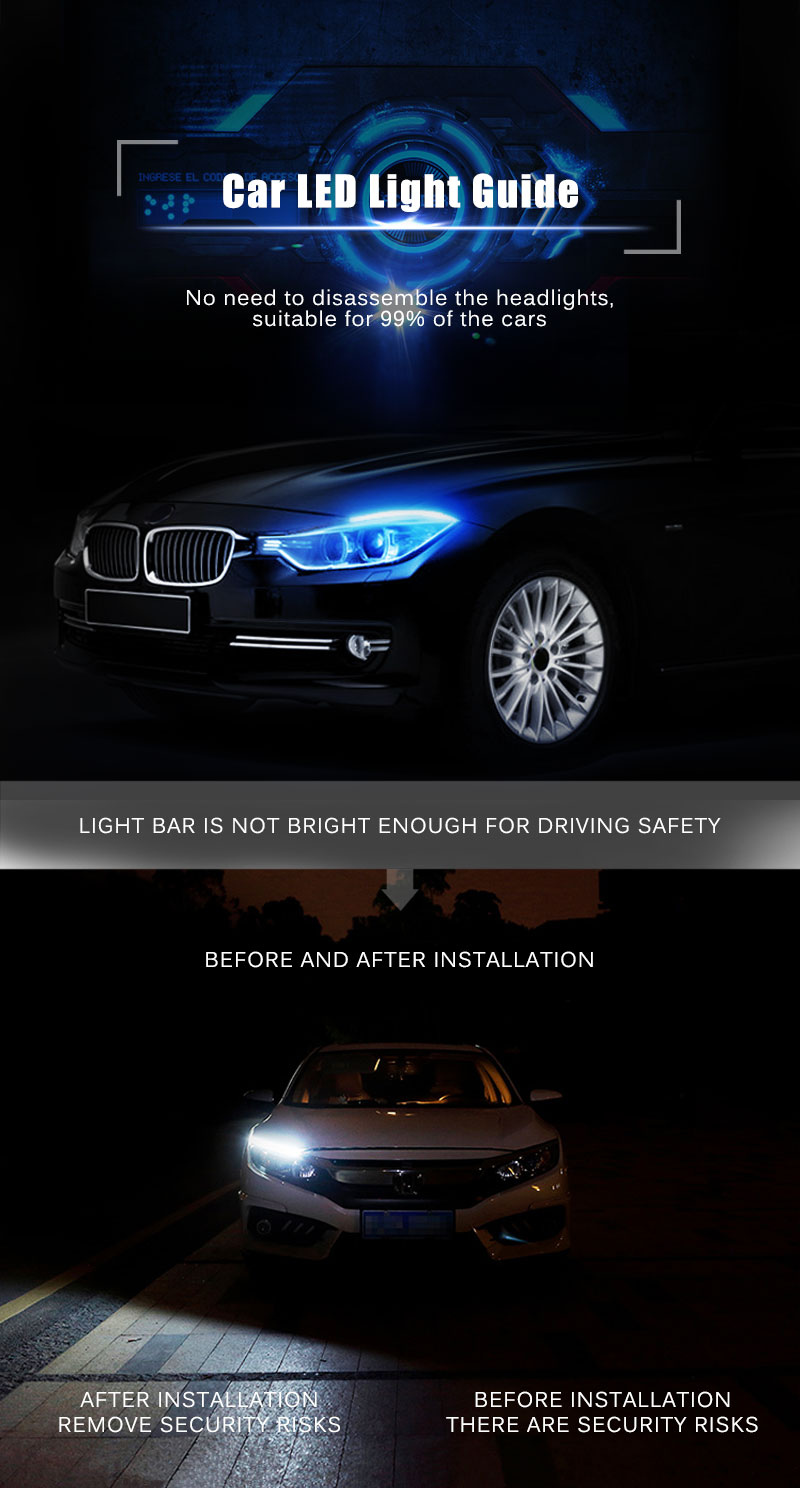 Car Day Light Led DRL Strip Lamp Headlight Daytime Running Lights Flowing (1)