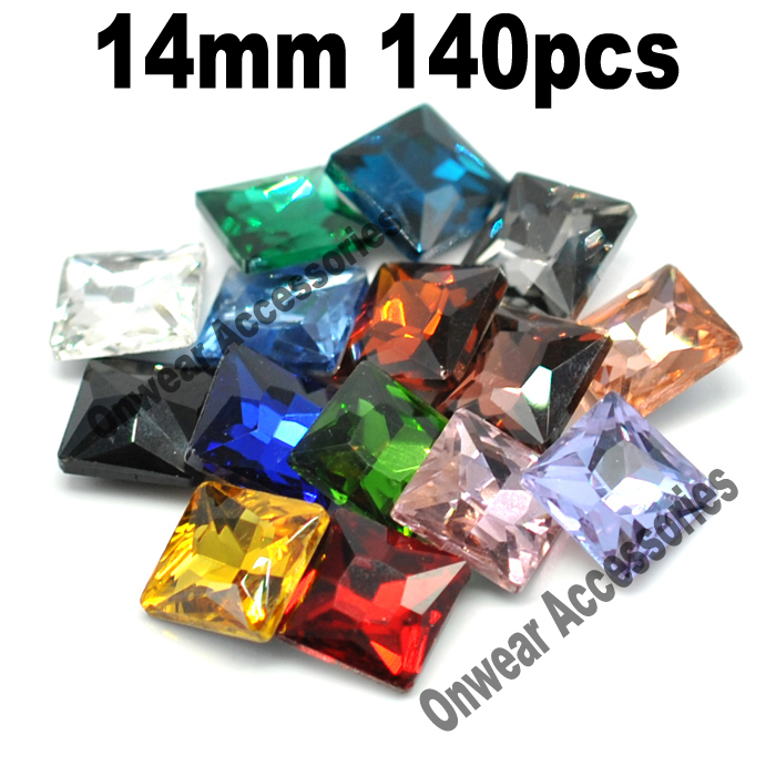 140pcs/lot 14mm princess cut pointed back <font><b>square</b></font> decorative glass fancy stones for clothing 30 colors to choose