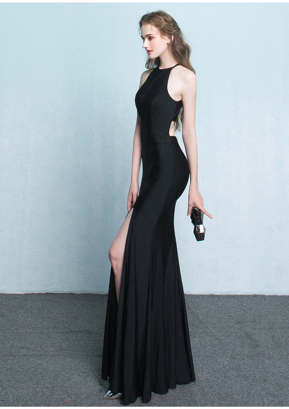 Hot Style Sexy Mermaid Evening Dresses Red/Black Crew Sweep Train ...