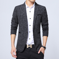 2017 Spring Autumn Fashion Trend Men Slim Single Button Long Sleeve Small Wool Suit Jacket Male