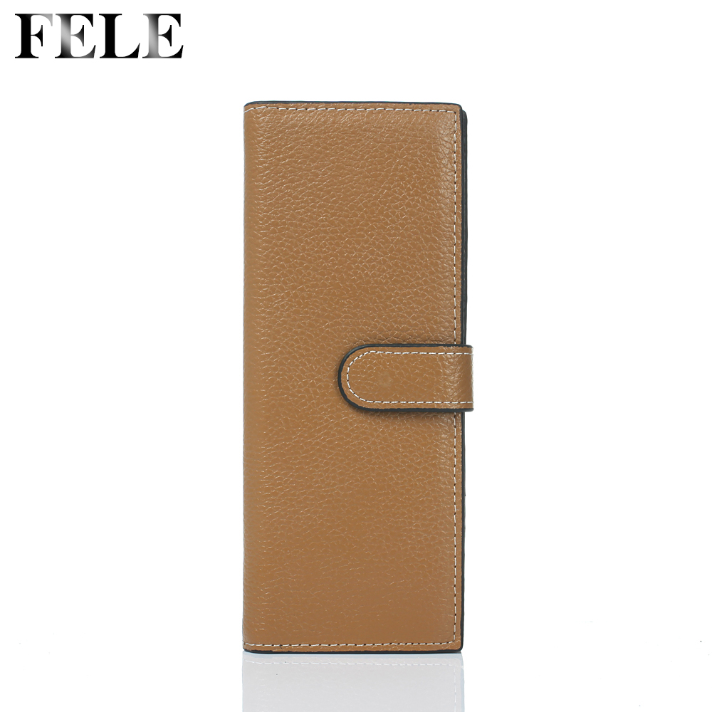 FELE 2016 New Genuine Leather Women Wallet Credit Card Holders Large Capacity Long Business Purse ID Case HQB1756