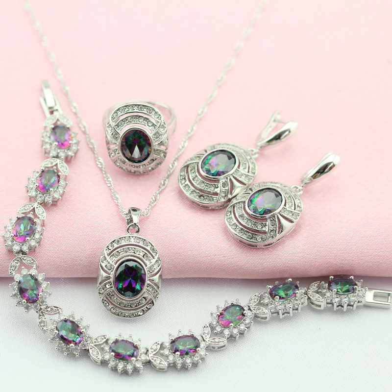 Silver Plated Jewelry Sets Romantic Rainbow Stone Multicolor For Women Drop Earrings Bracelet Collier Pendant Ring