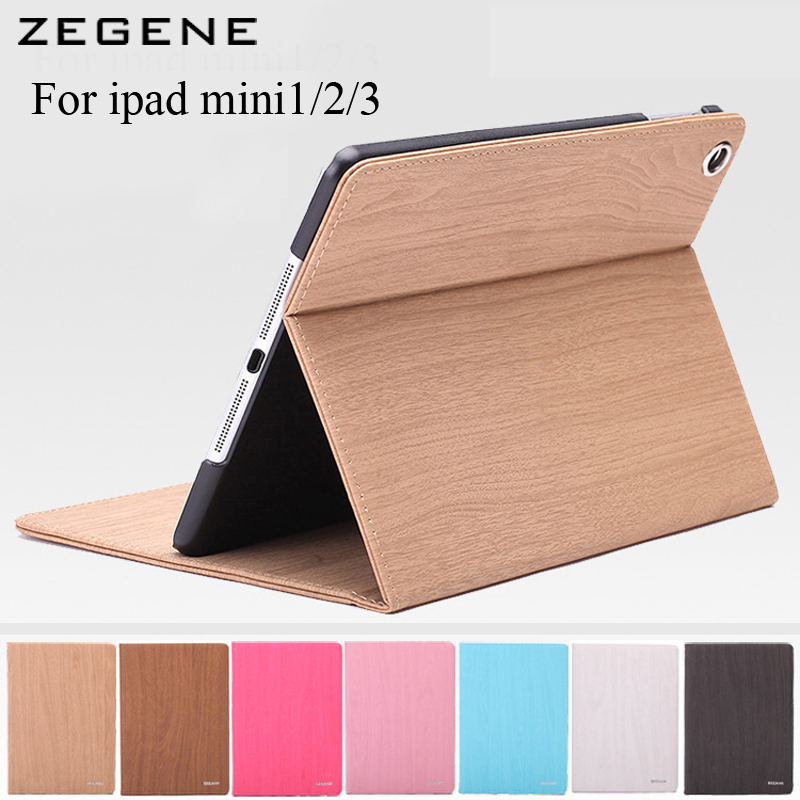 Wood Grain Flip Ultra Thin Foldable Stand Leather Case for apple ipad mini1 2 3 Smart Cover automatic sleep PU leather/ import