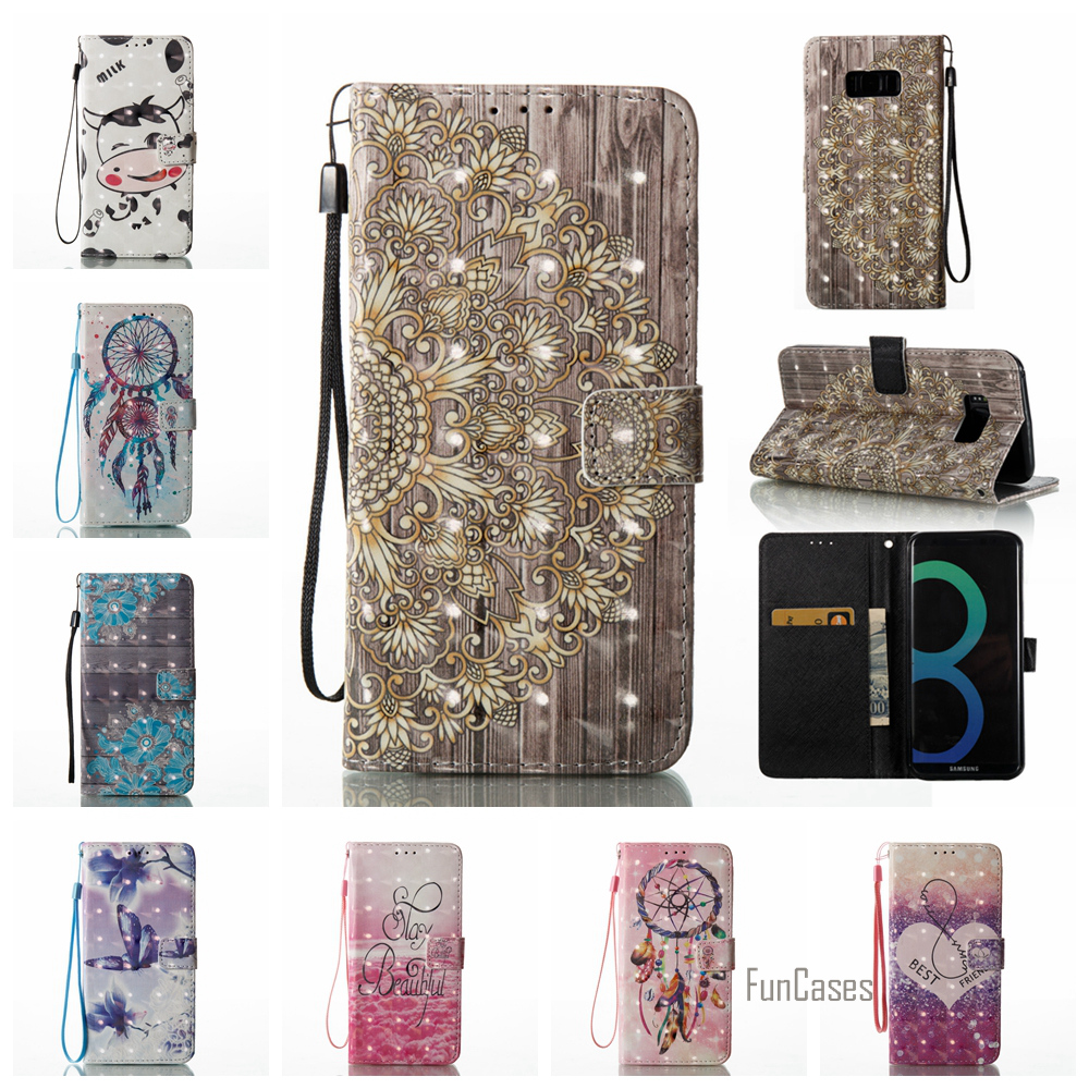 Luxury 3D Painted PU leather Flip Case For Samsung S8 Plus S6 Edge S7 S5 Cows Case For Samsung Galaxy J3 J5 2017 J7 A5 A3 2016