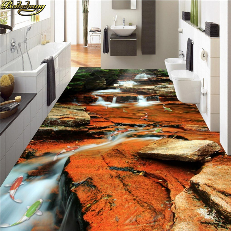 beibehang Custom Photo Wallpaper Floor Painted Waterfall Carp Jump Dragon Gate 3D Flooring wall papers home decor gate gate magnetic plated hardware floor wall suction gold 176203